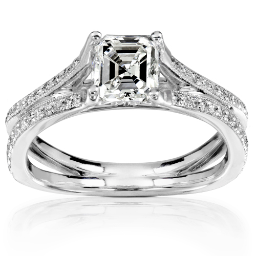 Asher Cut Diamond Ring in 14k White Gold 1 1/4ct TW
